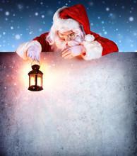 Santa Claus On Vintage Signboard With Lantern