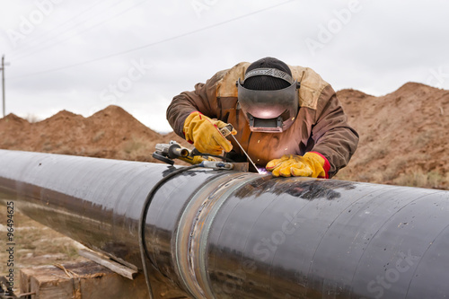 Fototapeta Welding works on gas pipeline obraz
