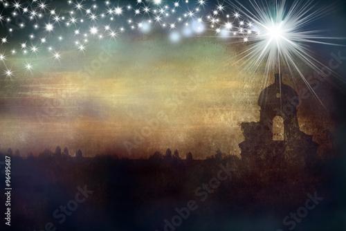 Obraz na plátne Christmas greeting card church and star