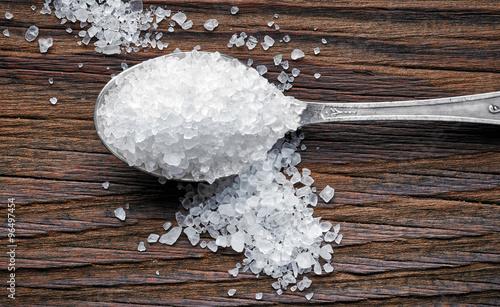 Foto spoon of sea salt