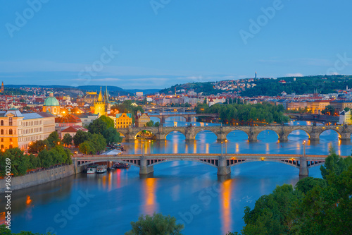Poster  View of night Prague