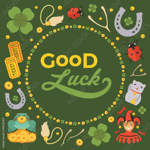 Vector decorating design made of Lucky Charms, and the words Good Luck Poster