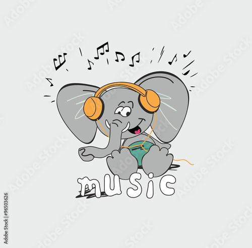 Картинка прикольная слона в наушниках, сказки