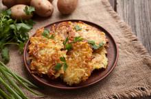 Potato Pancakes Or Latke Traditional Homemade Fried Vegetable Food Recipe. Healthy Organic Vegan Food
