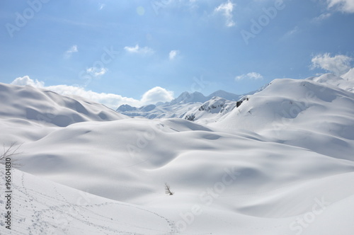 Snow covered moutains in Slovenia