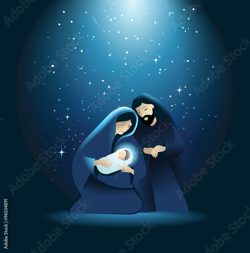 Nativity scene with Holy Family Wallpaper Mural