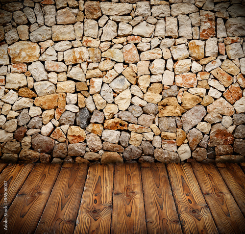 obraz dibond stone wall with wooden floor