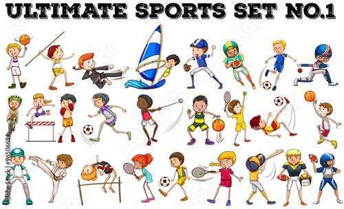 rozne-dyscypliny-sportu-pokazywane-przez-dzieci-ilustracja