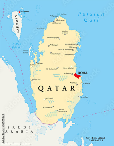 Qatar political map with capital Doha, national borders, important on