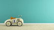 canvas print picture - Part of  interior with stylish beige toy car 3D rendering