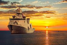 The Military Ship On Sea At Su...