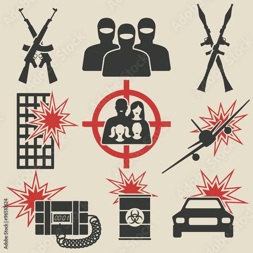 Fotografía  Terrorism icons set