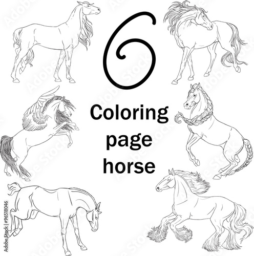 Set of 6 horses coloring pages - Buy this stock vector and ...