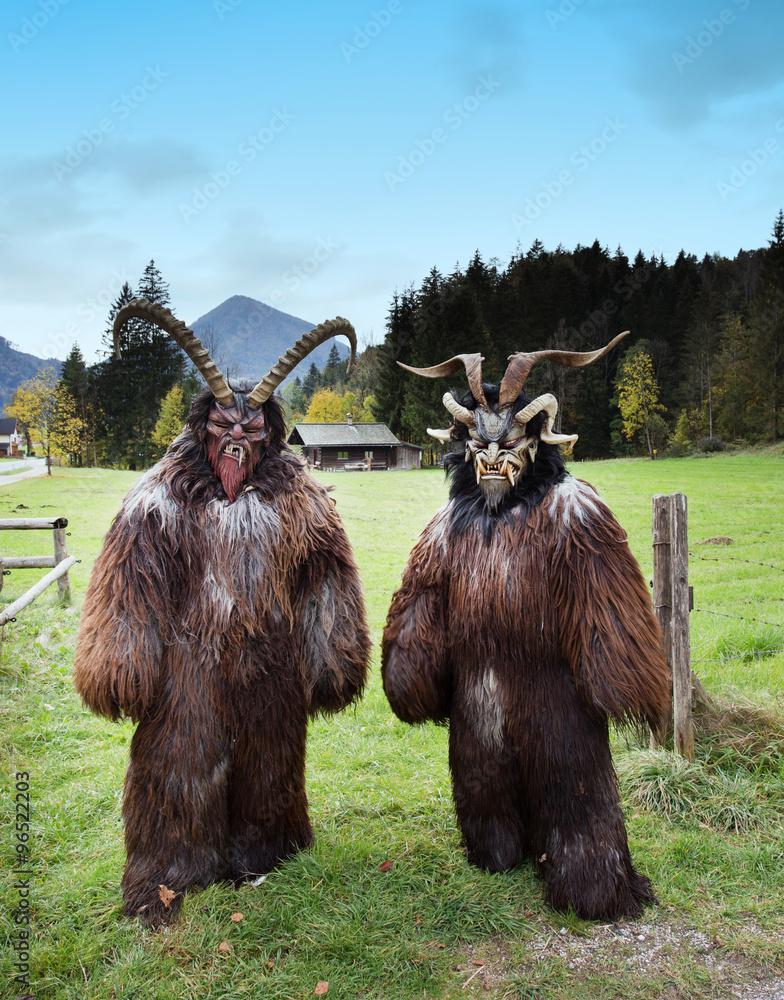 Alpine Traditional Krampus Masks Foto Poster Wandbilder Bei