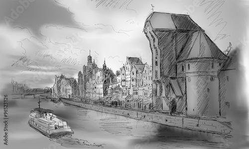 stare-miasto-w-gdansku-i-slynny-dzwig-polski-zuraw-widok-z-motlawy-polska-o-romantycznym-zachodzie-slonca-noc-miasto-znane-rowniez-jako-gdansk-i-miasto