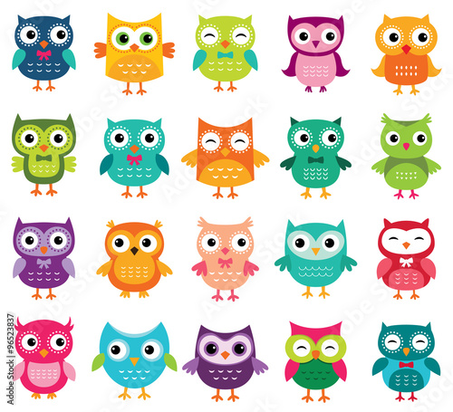 Aluminium Prints Owls cartoon Cute cartoon owls collection