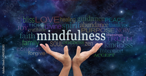 Foto op Canvas Zen Zen Mindfulness Meditation - Female hands reaching up towards the word 'Mindfulness' floating above surrounded by a relevant word cloud on a dark blue night sky background