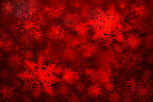 Magical Red Colored Abstract Blurry Snowflake Shapes And Sparkle Illustration Background. Dreamy Winter Snowfall Copy Space Greeting Card Background.
