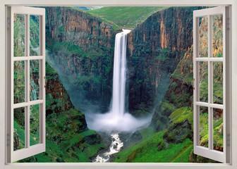 Panel Szklany Popularne Open windoq panoramic vuew to Iguacu falls, Brazil