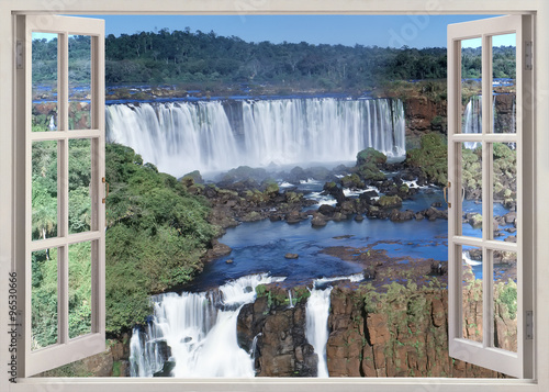 Open windoq panoramic vuew to Iguacu falls, Brazil