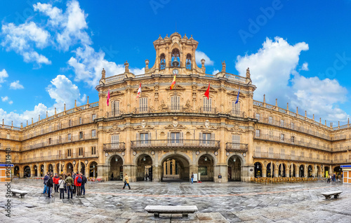 Famous Plaza Mayor in Salamanca, Castilla y Leon, Spain