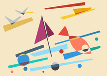 Abstract Geometric Marine Land...