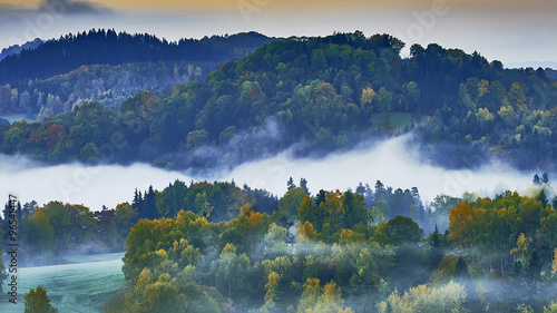 Foto op Canvas Nachtblauw Foggy morning in the landscape