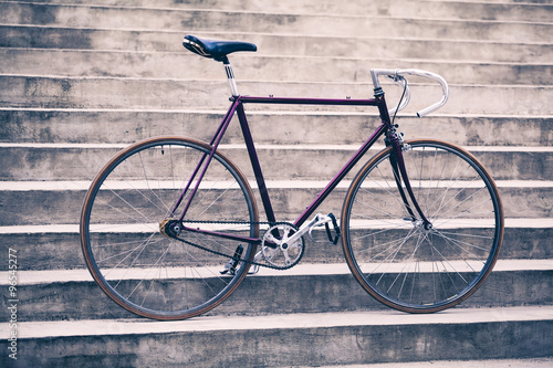 In de dag Fiets Road retro bicycle and concrete stairs, urban scene vintage styl