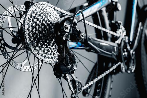 Foto op Plexiglas Fietsen bicycle parts rear wheel cassette close-up