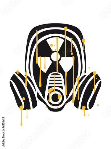 Photo  radioactively contaminated nuclear radiation bomb gasmask sign symbol danger dan