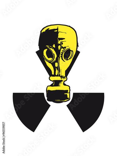 nuclear logo sign symbol toxic radioactive atomic bomb fallout gas mask cool des Canvas Print
