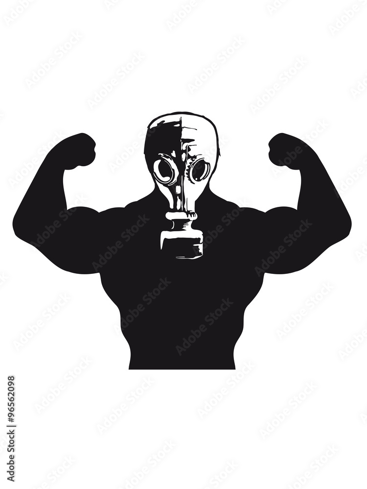 Photo  Muscles Body Builders Gas Mask Protection groovy guy design