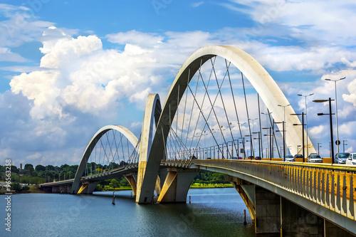 Poster Brésil JK Bridge in Brasilia, capital of Brazil.