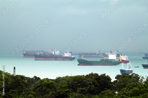 Photo  Landscape from bird view of Cargo ships entering one of the busiest ports in the world, Singapore
