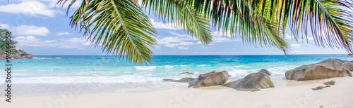 plage paradisiaque des Seychelles sous les cocotiers