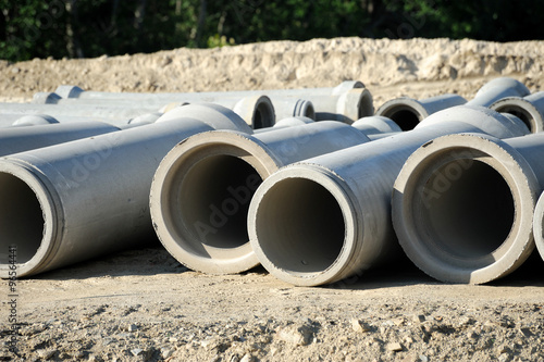Valokuva  sewage pipes in construction site