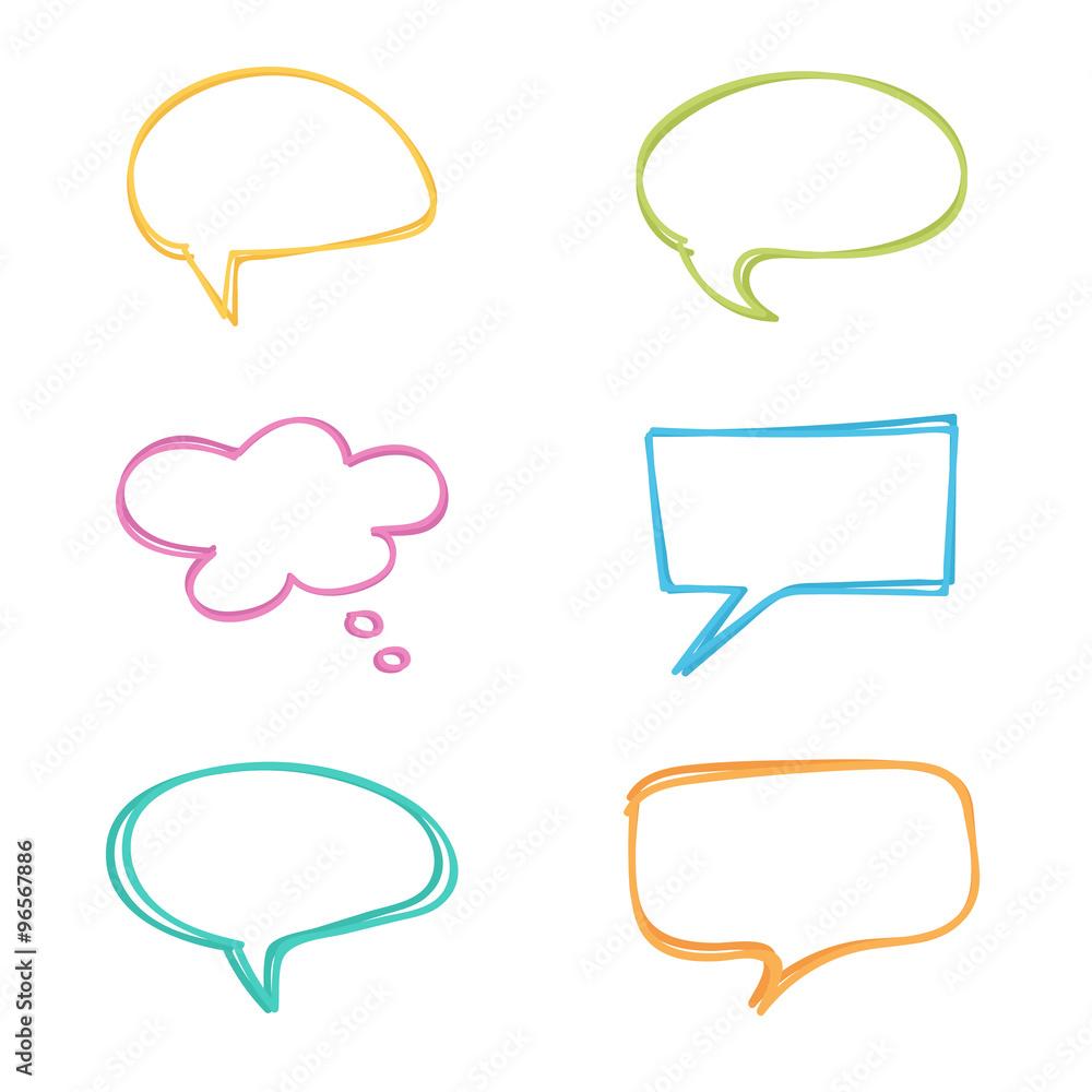 Fototapeta Colorful doodle speech bubbles set.