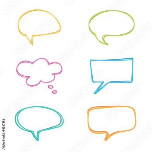 Fotografía  Colorful doodle speech bubbles set.
