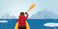 Man Kayaking, Arctic Background, Winter, Nature Travel And Adventure