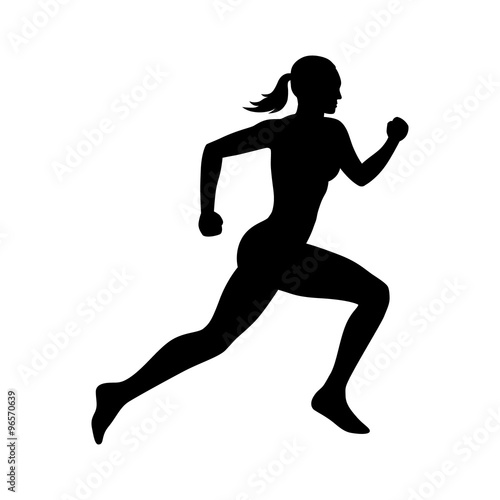 Fotografie, Obraz  Running woman flat icon for exercise apps and websites