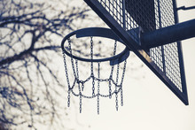 Basket Made Of Chains For Basketball Playing