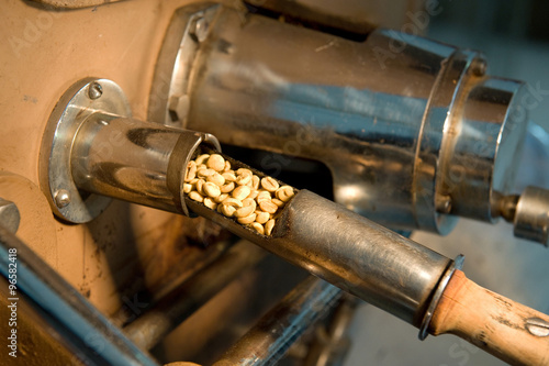 Slika na platnu Taster extracting coffee beans from roaster for quality control and assurance