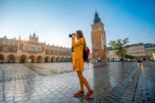 Fototapeta Female tourist in the center of Krakow obraz
