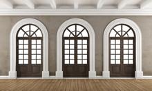 Empty Classic Interior With Balcony Windows