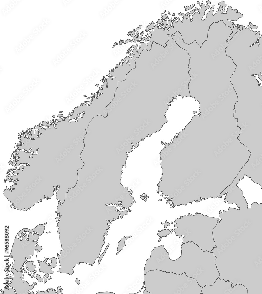 Karte Skandinavien.Karte Von Skandinavien Grau Foto Poster Wandbilder Bei Europosters