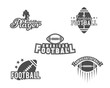 College rugby and american football team, college badges, logos, labels, insignias set in retro style. Graphic vintage design for t-shirt, web. Monochrome print isolated on a white background. Vector