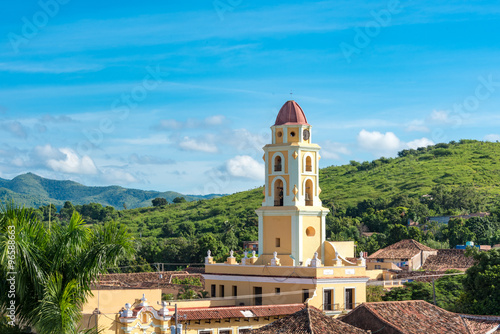 Trinidad de Cuba Cityscape including the Convent of Saint Assisi and the Escambr Canvas Print