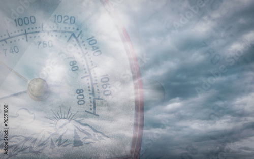 Barometer and sky - double exposure Wallpaper Mural