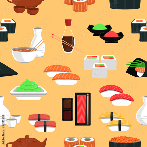 Sushi Seamless Pattern - 96593692