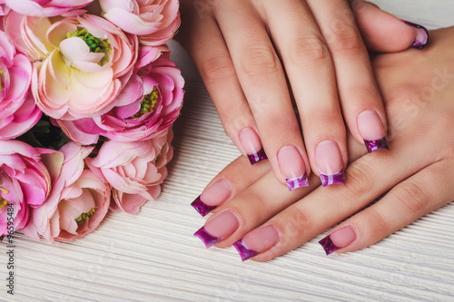 French Nail Art In Purple Colour Buy This Stock Photo And Explore